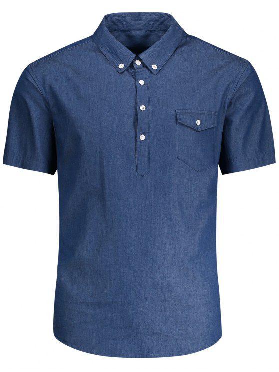 outfits Pocket Short Sleeve Denim Shirt - BLUE L