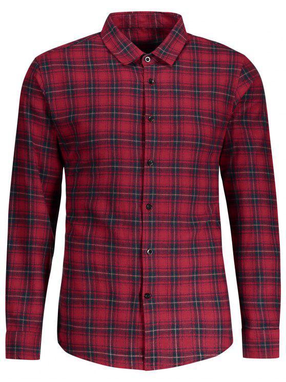Botón comprobado encima de la camisa - Rojo M
