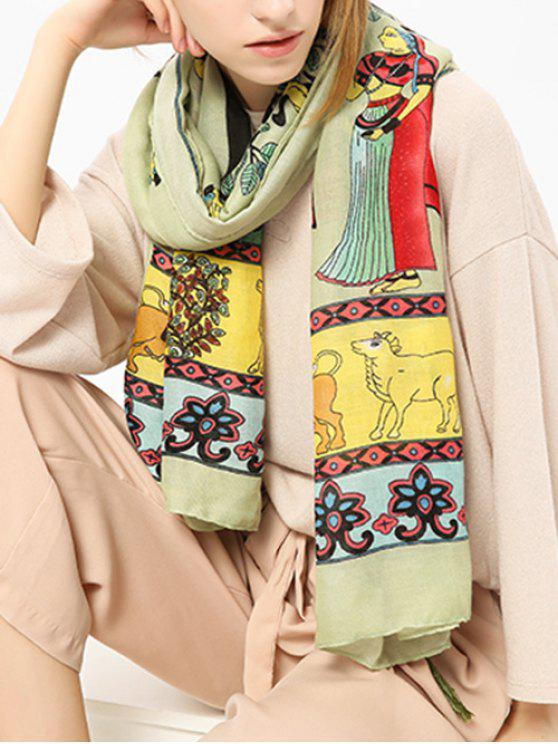 new Tassels Ethnic Figure Pattern Shawl Scarf - GREEN