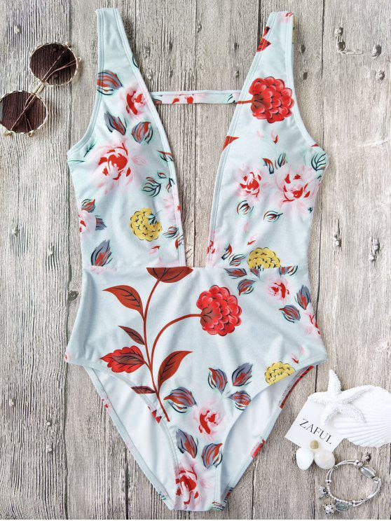 latest One Piece Plunging High Cut Floral Swimwear - WHITE L