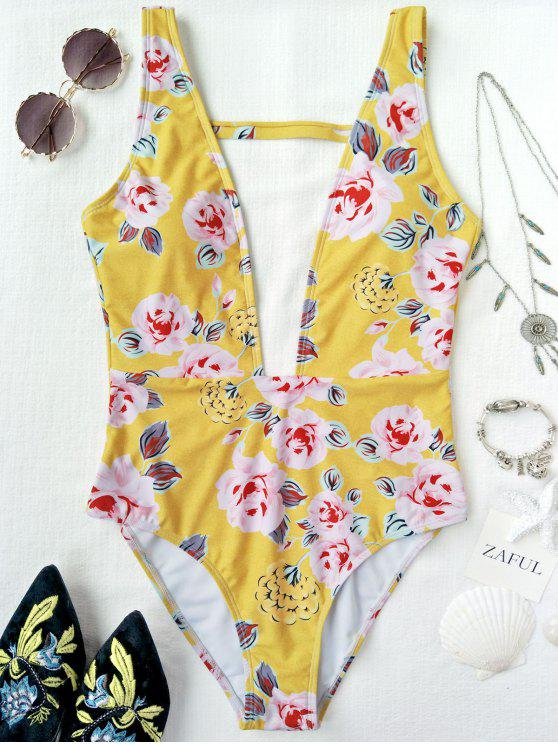 affordable One Piece Plunging High Cut Floral Swimwear - YELLOW M
