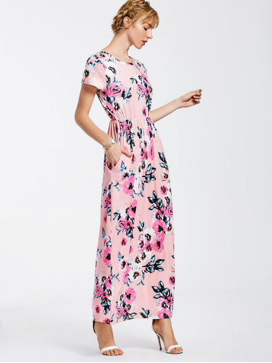 outfits Floral Print Round Collar Maxi Dress - PINK M
