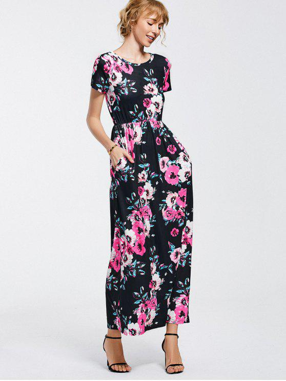lady Floral Print Round Collar Maxi Dress - BLACK XL