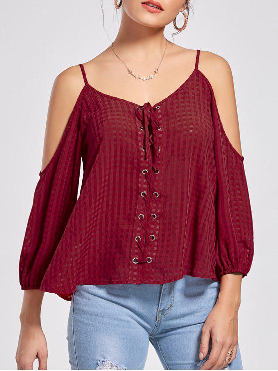 unique Lace Up Cold Shoulder Blouse - WINE RED L