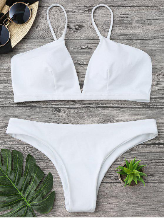 trendy Padded Cami Plunge Bathing Suit - WHITE L