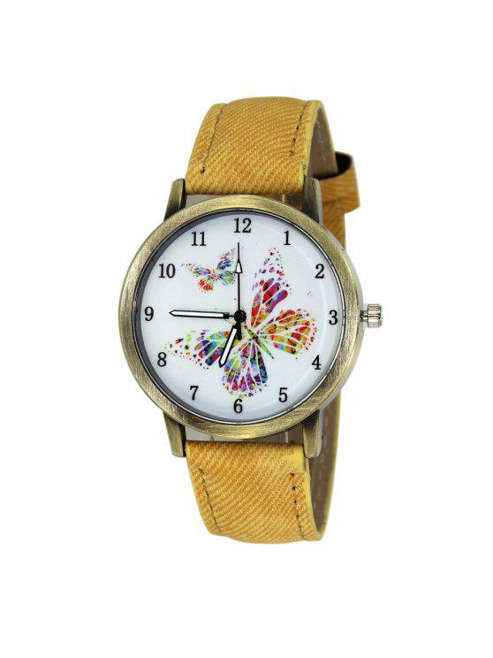 trendy Faux Leather Strap Butterfly Face Watch - YELLOW