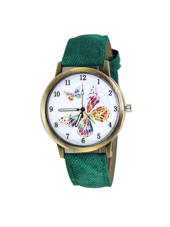ساعة وجهها ذو نمط الفراشة بجلد صناعي - أخضر