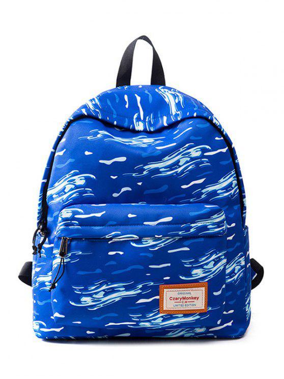online Casual Printed Nylon Backpack - OCEAN BLUE