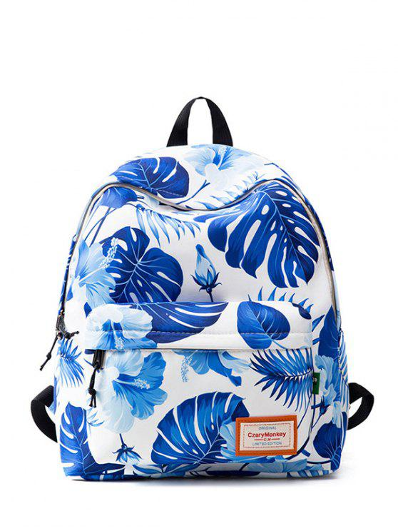 hot Casual Printed Nylon Backpack - BLUE AND WHITE