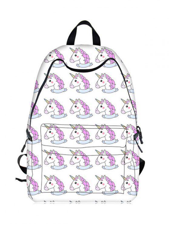trendy Cartoon Unicorn Print Backpack - WHITE