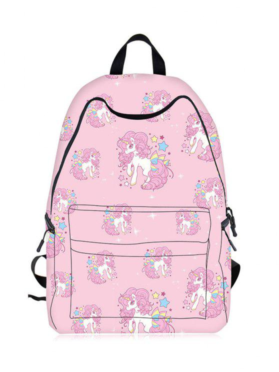 fashion Cartoon Unicorn Print Backpack - PINK