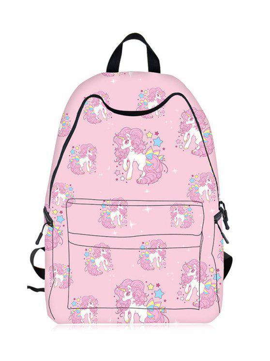 fashion Cartoon Unicorn Print Backpack - PINK