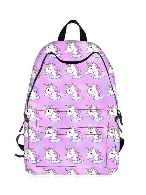 Sac à dos Cartoon Unicorn Print - Violet Clair