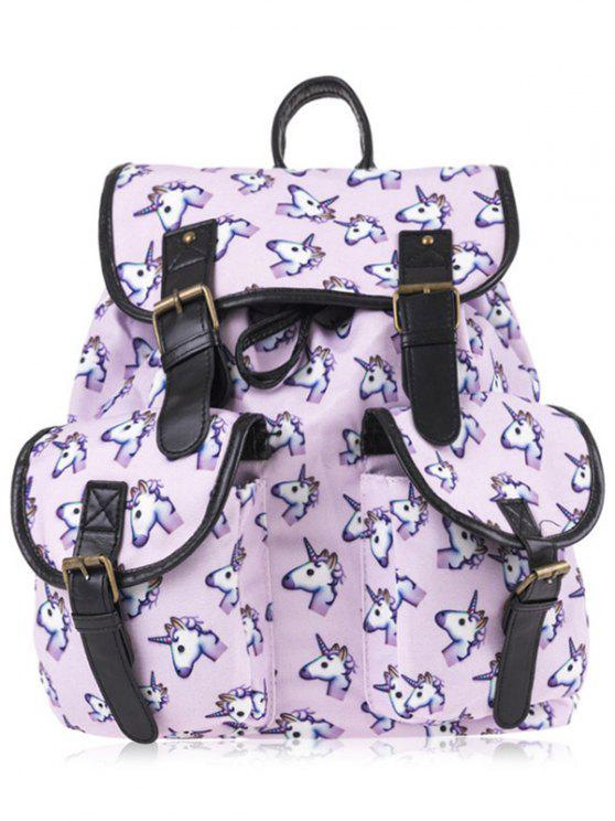 fashion Unicorn Print Buckles Backpack - PINKISH PURPLE