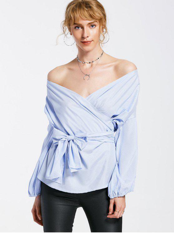 latest Stripes Crossed Front Off Shoulder Blouse - LIGHT BLUE XL