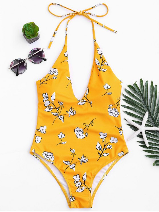 outfits Printed V Neck Slimming One Piece Swimsuit - MUSTARD L