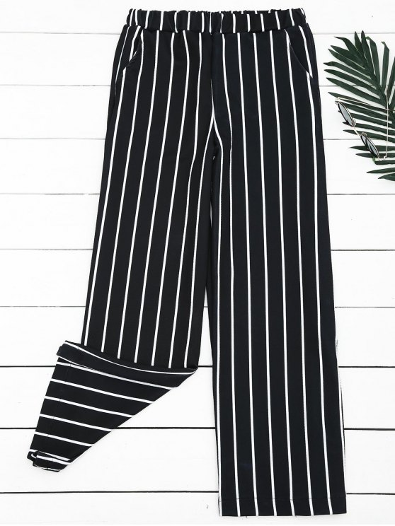 Pantalon Jambes Larges à Rayures Taille Haute - Rayure S