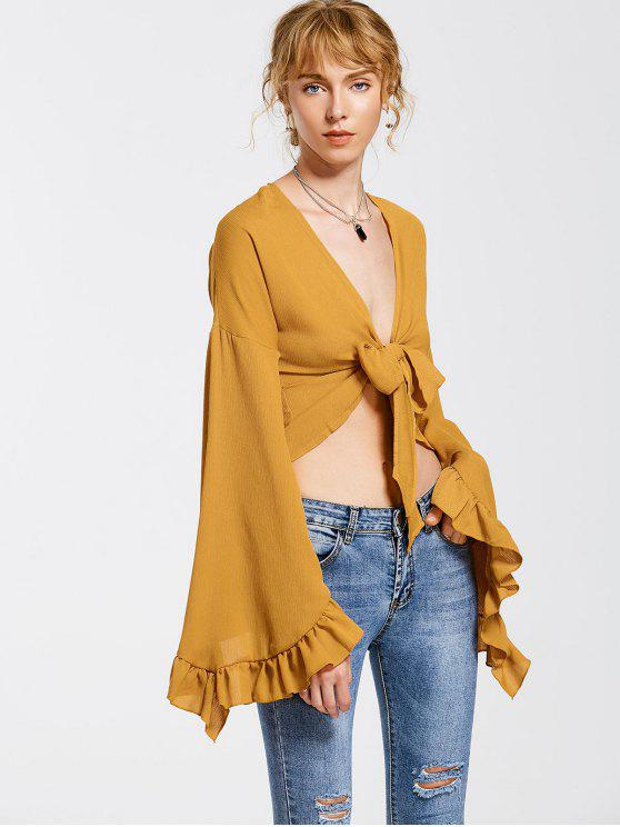 latest Flare Sleeve Self Tie Blouse - GINGER S