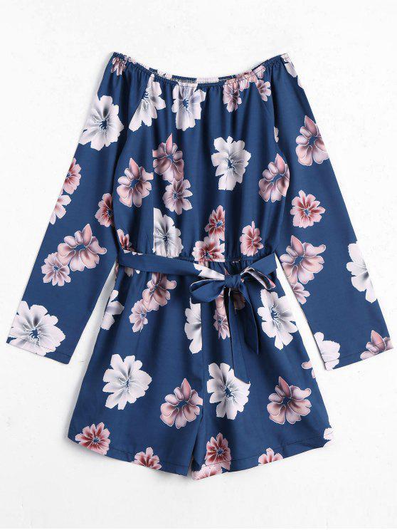 Manga larga de hombro floral mameluco - Floral XL