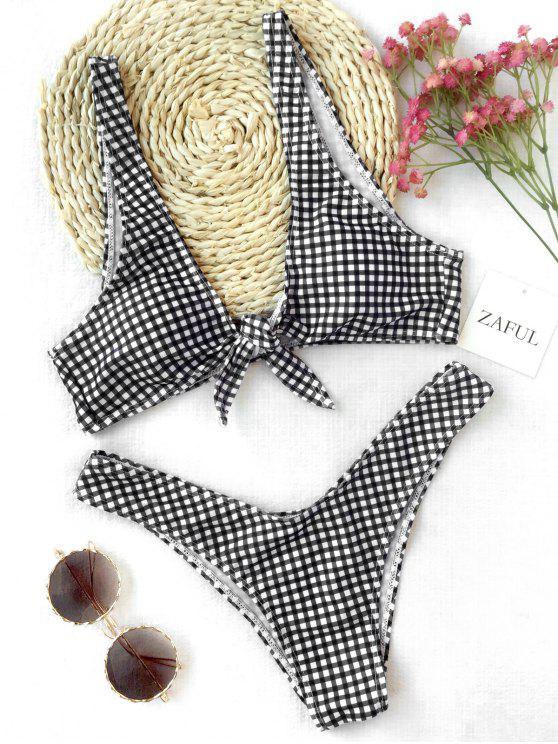 affordable Front Tie Thong Plaid Bikini Set - WHITE AND BLACK M