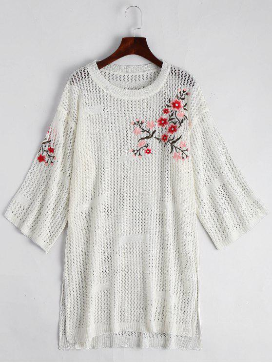 shop Sheer Floral Embroidered Sweater Dress - WHITE ONE SIZE