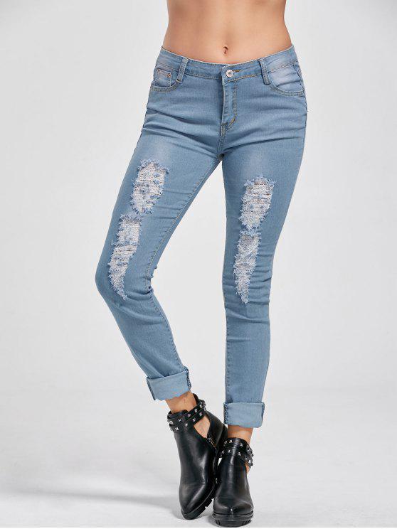 fancy Low Rise Distressed Cuffed Jeans - DENIM BLUE M
