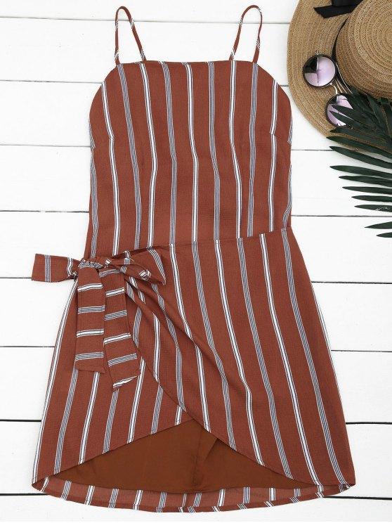 Mini Vestido con Tirante Fino a Rayas con Cierre de Nudo en Espalda - Raya S