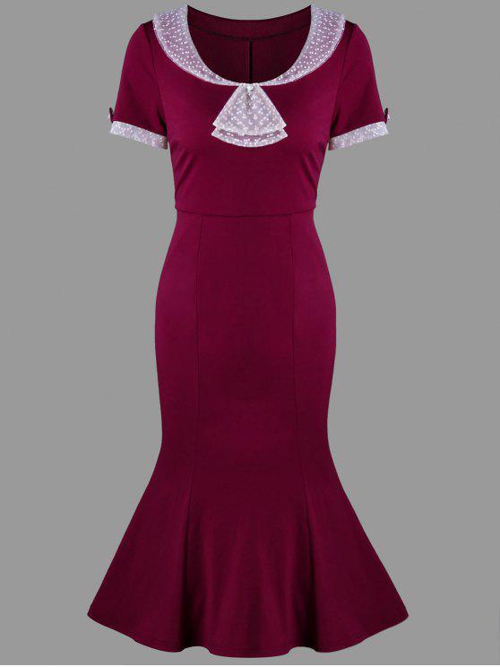 فستان ميرميد ضيق - نبيذ أحمر L