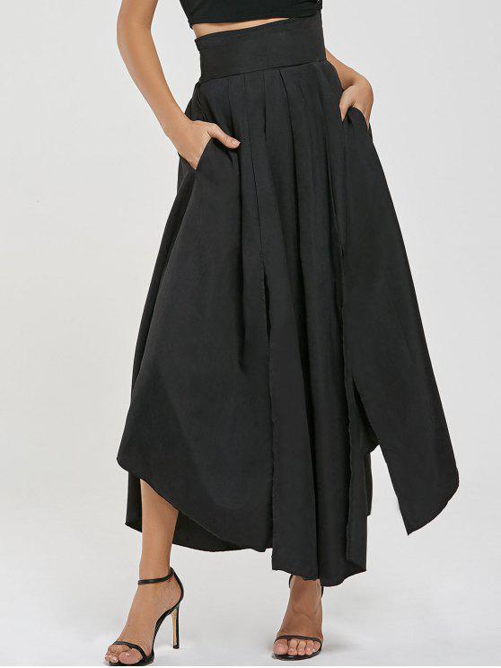 259c4b8c10 28% OFF] 2019 High Waisted Pleated Slit Maxi Skirt In BLACK | ZAFUL