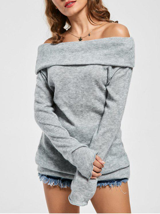 lady Knitted Off The Shoulder Sweater - GRAY M