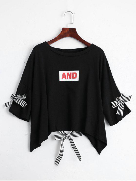 Camiseta de la impresión de la letra del hombro de la gota - Negro Talla única