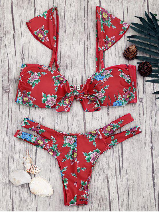 affordable Floral Print Knot Banded Bikini Set - RED M