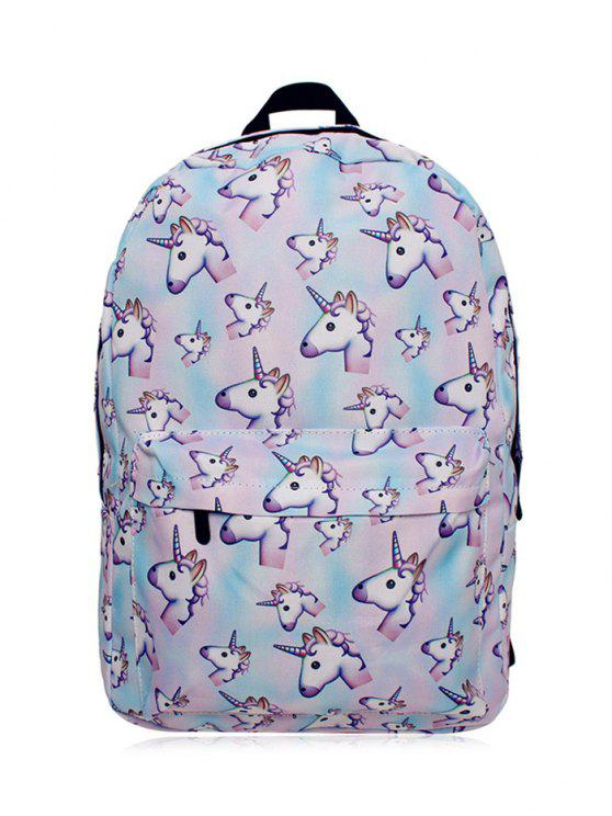 sale Unicorn Print Backpack - PINKISH BLUE