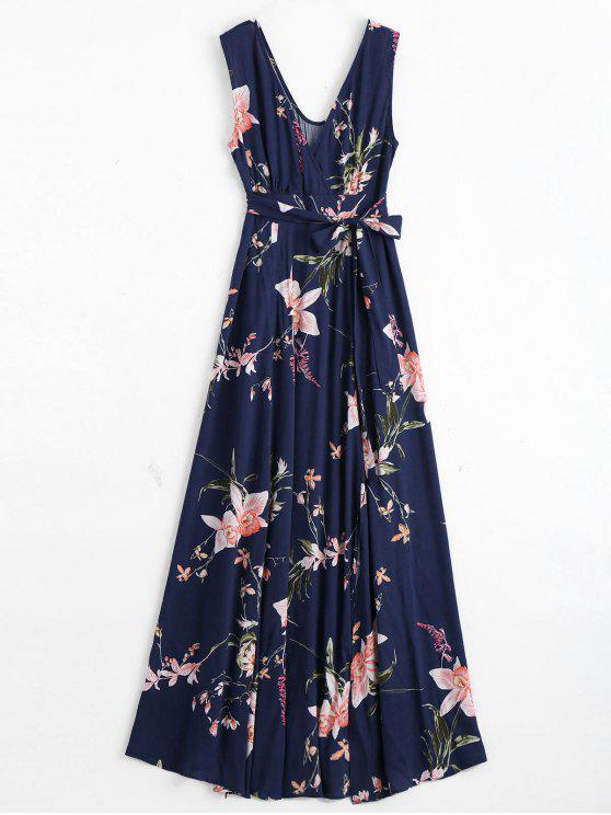 Maxi Robe Cache-Coeur Florale à Fente Élevée avec Ceinture - Bleu Violet XL