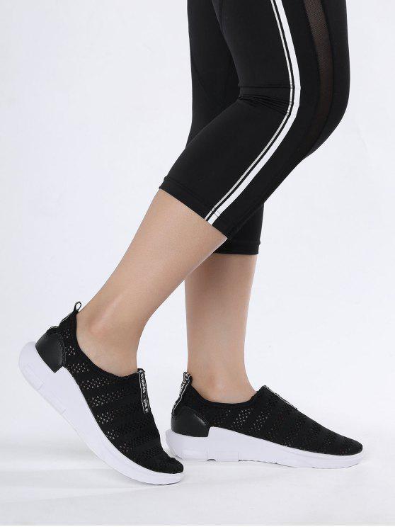 Mesh Atmungsaktive Athletische Schuhe mit Buchstabenmuster - Schwarz 37