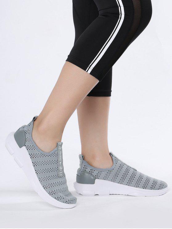 تنفس شبكة إلكتروني نمط أحذية رياضية - رمادي 40