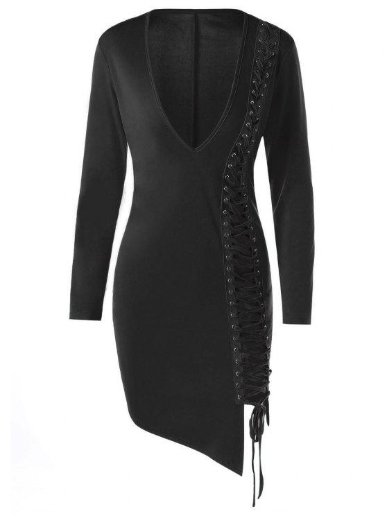 فستان ضيق ملائم رصاص رباط - أسود XL