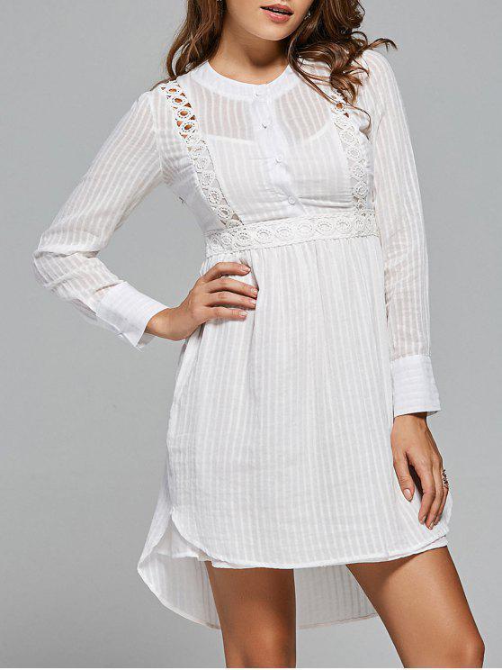 الدانتيل لوحة عالية منخفضة فستان طويل الأكمام - أبيض M