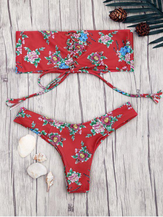 latest Lace Up Floral Print Bandeau Bikini Set - RED L