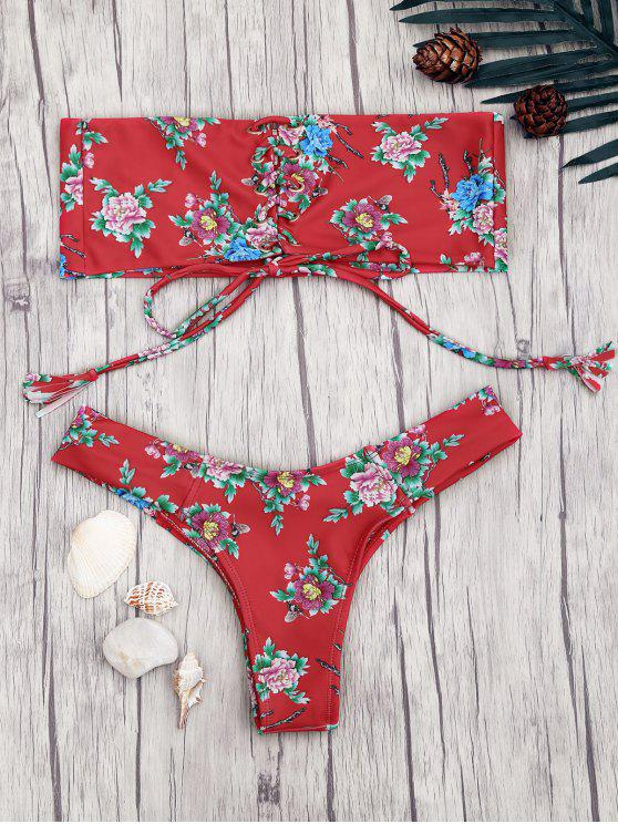 trendy Lace Up Floral Print Bandeau Bikini Set - RED M