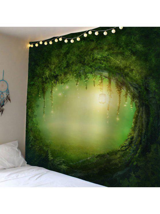 شجرة الثقب ضوء للماء المخملية نسيج - أخضر W79 بوصة * L59 بوصة