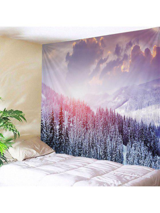 الجدار شنقا فن ديكور جبل الثلج طباعة نسيج - أبيض W79 بوصة * L59 بوصة