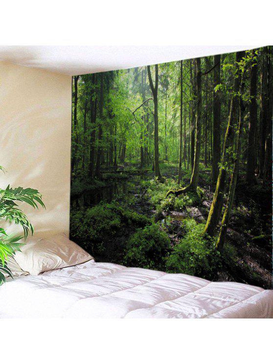 الجدار شنقا الفن ديكور الأشجار الغابات طباعة نسيج - GREEN W59 بوصة * L59 بوصة