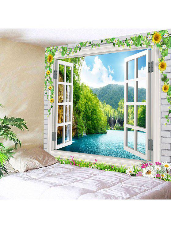 الأزهار فو نافذة المشهد للماء نسيج - أخضر W79 بوصة * L59 بوصة