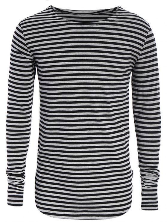 affordable Striped Long Sleeve Mens Jersey Top - BLACK AND GREY L