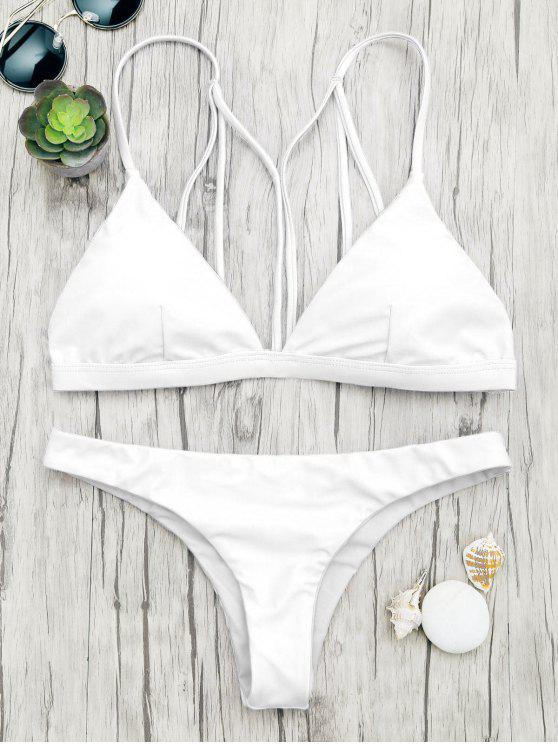 online Padded Back Strappy Bathing Suit - WHITE S