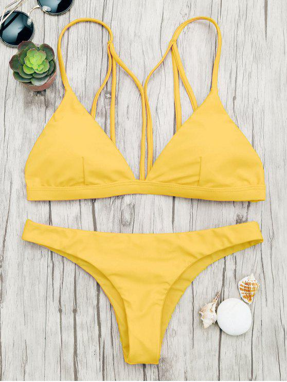 women Padded Back Strappy Bathing Suit - YELLOW L