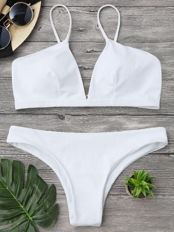 outfits Padded Cami Plunge Bathing Suit - WHITE XL