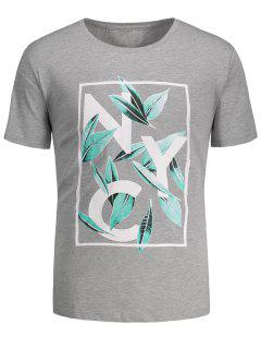 Leaf Printed Graphic Tee - Gray M