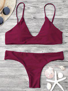 Verstellbare Riemen Gepolsterte Bralette Bikini Set - Burgund M